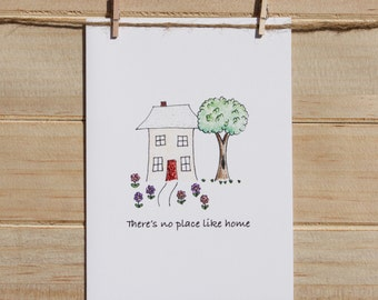New Home card, hand finished with glitter, Housewarming card, Congratulations on your new home card, There's no place like home card