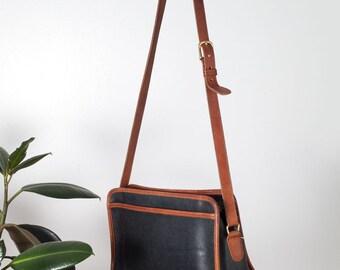 Vintage Two Tone Coach Crossbody Bag Black and Tan