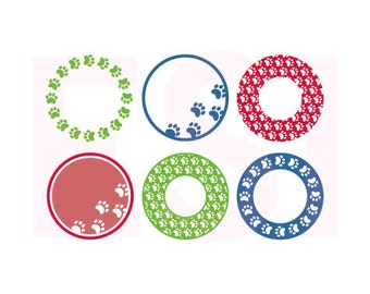 Paw print frames SVG, DXF & EPS, cutting Files for use with Silhouette and Cricut Explore machines. Circle monogram frames.