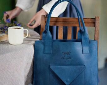 Leather tote bag - leather shoulder bag - leather bag - leather purse - large leather bag - purse leather - purse with pocket -blue tote bag
