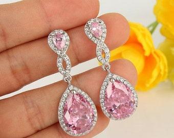Pink Bridesmaids Earrings - Bridal Pink Earrings -Pink Wedding Earrings-Pink Teardrop Earrings -Sweet Sixteen Earrings -Quinceañera Earrings