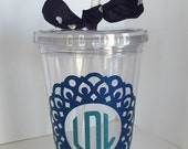 Monogrammed Tumbler with Lid and Straw, 16 oz. BPA-Free Tumbler, Custom Tumbler