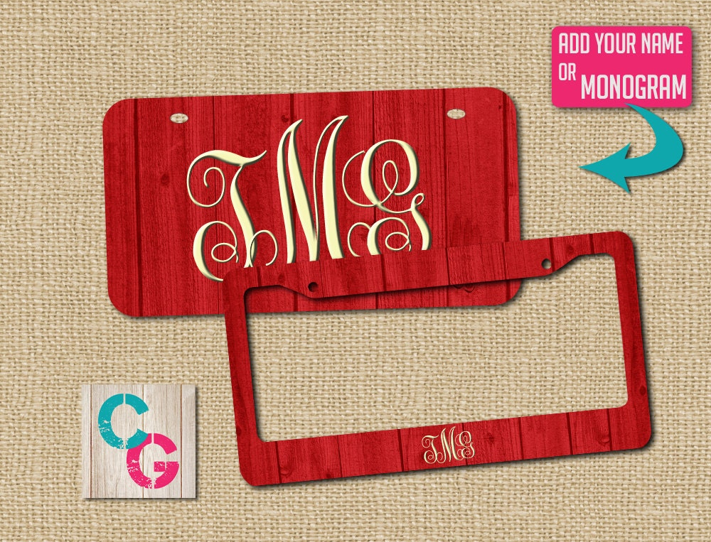 red license plate frame red license plate custom license plate monogram license plate frame rustic gift red license plate