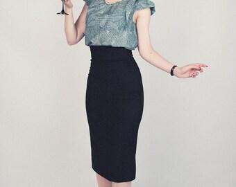 Black with thin white stripes, high waist, spandex pencil skirt