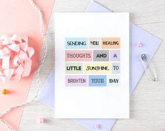 Get Well Soon Card | Sympathy | Illness | Thinking Of You | Healing Thoughts | Uplifting | Blank | SE0075A6