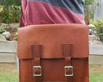 Tan Leather Satchel Messenger Bag