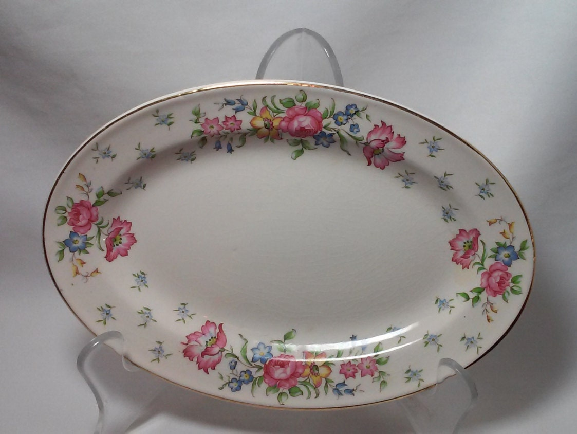 Antique vanity tray with lace insert - Antique 1940s Oval Porcelain Tray Asparagus Plate Vintage Serving