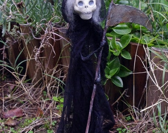 "Creepy Art doll ""Death"". Gothic doll. OOAK Paper clay and paper mache figure. One of a kind doll."
