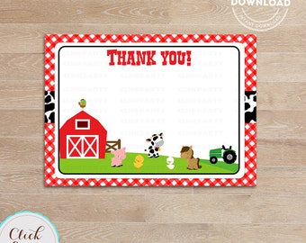 Farm Thank you card, Barn Note card, Old Mc Donald thank you note, barnyard animals, Printable Party supplies, Birthday Party Decorations
