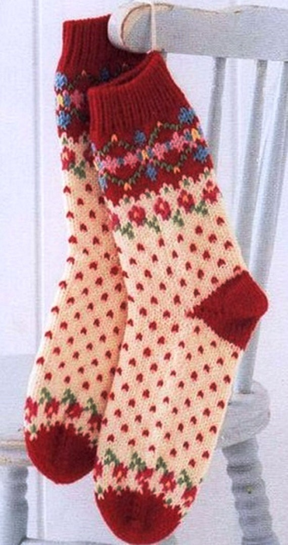 Knitting Pattern Wool Socks : knit socks wool socks knitted socks Scandinavian by WoolMagicShop
