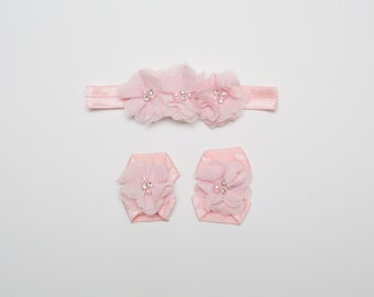 Light Pink Baby Barefoot Sandal Set, Flower Barefoot Sandals, Infant sandals, Baby sandals, Toddler barefoot
