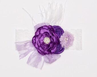 Purple & lavender headband, Lace flower headband, purple lace headband, shabby chic headband, Baby girl headband, Toddler headband, Headband
