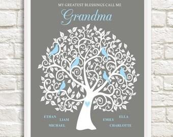Grandma Family Tree, Personalized Grandma Gift,  Mother's Day Gift for Grandma, Custom Family Tree for Grandma,  Gift for Grandma,