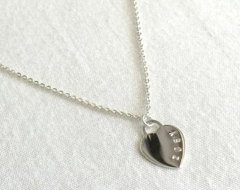 Personalized Heart Name Necklace, Sterling Silver Heart, Initial Necklace, Bridesmaid Necklace, Date Necklace, Mother Gift, Valentines Gift