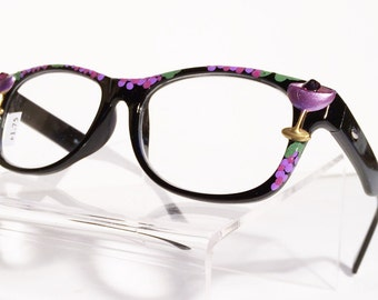 Wine Reading Glasses, Hand Painted, +1.75, Women's eyeglasses,