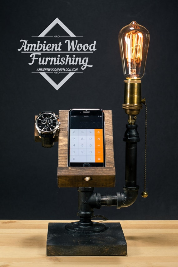 Industrial Pipe Lamp With Apple Watch Dock Charger Amp Phone