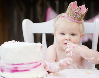 Smash Cake Outfit Birthday Crown | 1st Birthday Girl Outfit for Cake Smash | Baby Girl First Birthday Outfit | 1st Birthday Hat | Gold Pink