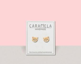 Cat stud earrings Cat earrings Cute cat post earrings Gift idea
