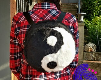 backpack yin yang faux fur handmade zen futuristic cyber goth rave psychedelic hippie industrial space