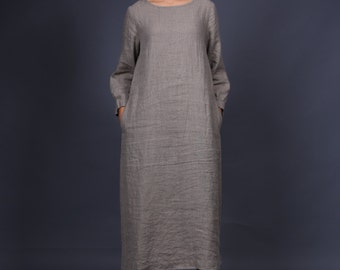 Linen dress with long sleeves / Linen dress / Washed and soft linen dress / Long linen dress available in 32 colors