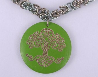 Tree of Life / Celtic Necklace / Green Tree Jewelry / Wooden Necklace / Celtic Pendant / Celtic Jewelry / Celtic Tree / Wooden Pendant