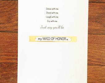 MAID OF HONOR scratch off greeting card