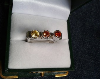 Brightly Sparkling Autumn Colours Sterling Silver Ring