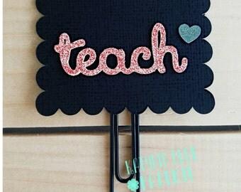 Scalloped Chalkboard Planner Clip   Teacher Planner Clip   Paper Clip   Bookmark   Teacher Gift   First Day of School