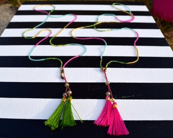 "The ""Annie"" Multicolor Beaded Tassel Boho Necklace - Pink or Green"