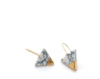 Gold Marble Jewellery / Porcelain Earrings / Geometric Triangle Earrings / Ceramic Jewelry / Modern Minimalist / Black and white Marble