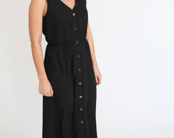 Black Plus size Dress Maxi Buttons Dress Black Long Dress Sleeveless Summer Day Dress