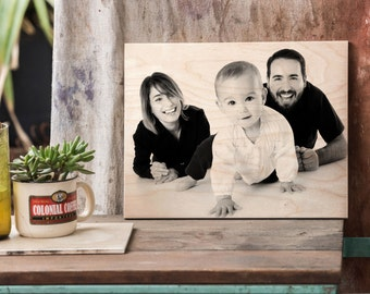 Family Portrait Custom, Photo On Wood, Family Photo, Custom Family Portrait, Family Frame, Housewarming Gift, House Warming Gift