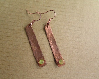 Long textured hammered copper wire wrapped rectangle earrings with peridot