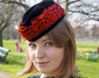 Military style black,red hat,small velour felt hat,red French Partridge feathers,ladies forage-cap
