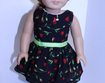 American Made Red Rosebud Dress for 18 inch Dolls