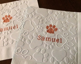 Personalized Paws Embossed Napkins - Animal Lover Theme, Bear Tracks, Dog Lover, Cat Lover Birthday, Zoo Theme, Puppy Birthday, Mascot Paws