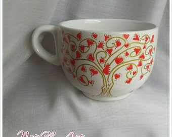Tea coffee large ceramic mug, hand painted, unique design, tree of love