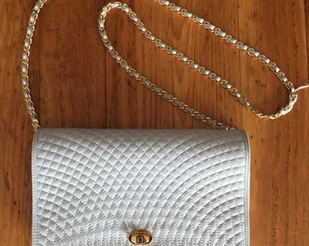 "Cream Shoulder Bag / Ivory Lambskin Leather / Quilted {Bally} Shoulder Bag, 5 3/4"" H x 9 1/2"" L"