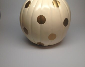 Vinyl Polka Dot Pumpkin Decals- Shown here 1 inch dots on a 9 inch Pumpkin