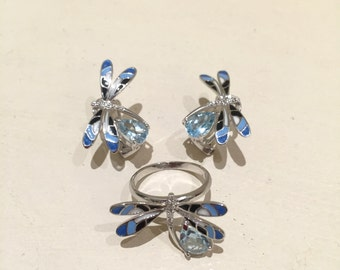 Blue Topaz or Amethyst Dragonfly Sterling Silver Enamel Matching Earrings & Ring Jewelry Set
