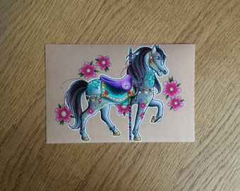 Pretty Carousel/Merry-Go-Round Horse Wall Art 7x5 Print of Hand Drawn Design // Home Decor // Gift Idea