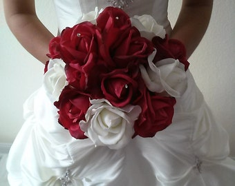 Red and White Real Touch Rose Bridal Bouquet-Bridesmaid Bouqet-Silk Flower Wedding Bouquet