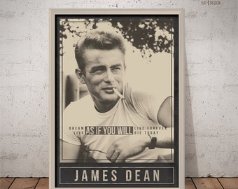 JAMES DEAN Poster - Quote Retro Poster - Movie Print, Actor Print, Film Poster, Wall Art