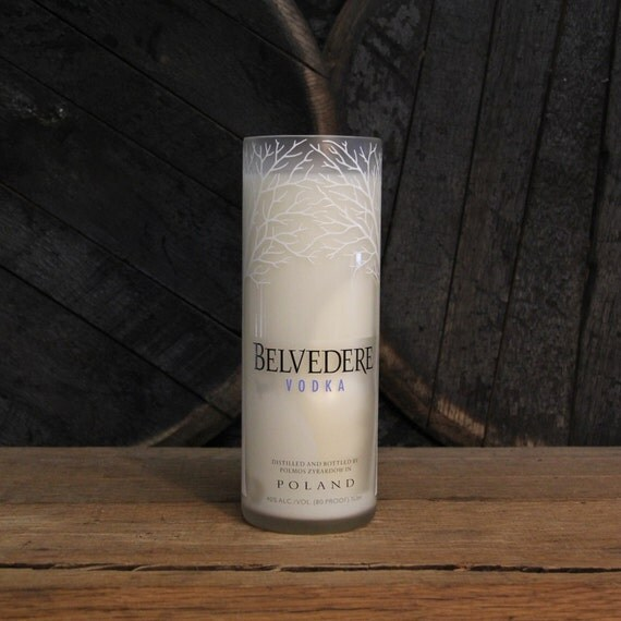 Belvedere Vodka Candle, Recycled Vodka Bottle Handmade Soy Candle 1L Recycled Glass Bottle 22oz Soy Wax, College Student Furninture Decor