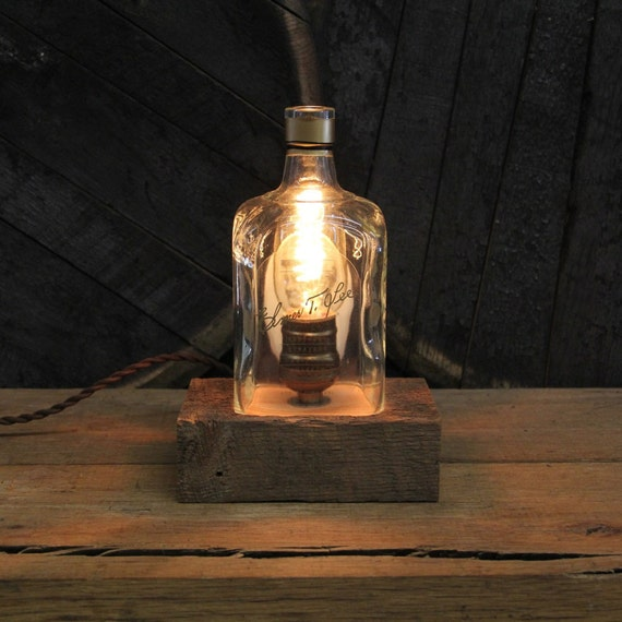 Elmer T. Lee Bourbon Bottle Lamp - Features Reclaimed Wood Base, Edison Bulb, Twisted Cloth Wire, In line Switch, And Plug, Upcycled Light