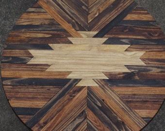 ROUND Navajo Aztec Native Boho Tribal Southwestern Mid-Century Coffee Table Wood Art