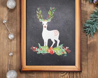 Holiday card, Deer printable wall art, Holiday decor, deer art, Holiday printables, Deer print, Rustic Christmas decor BD-555