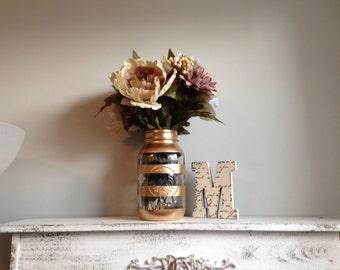 Gold Striped Quart Mason Jar