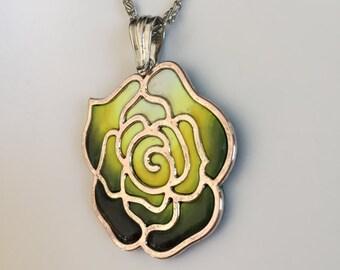 Dark Green Rose Necklace, Flower Necklace, Glaze Yellow Green Necklace