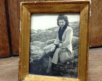 Lady on the rocks - original 1940s framed vintage photo- beautiful young lady siting on a rock- elegant outfit- gold wooden frame
